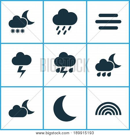 Air Icons Set. Collection Of Flash, Night, Colors And Other Elements. Also Includes Symbols Such As Cloud, Douche, Cold.