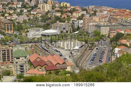 View on Bastia railway station and depot. Upper Corsica France