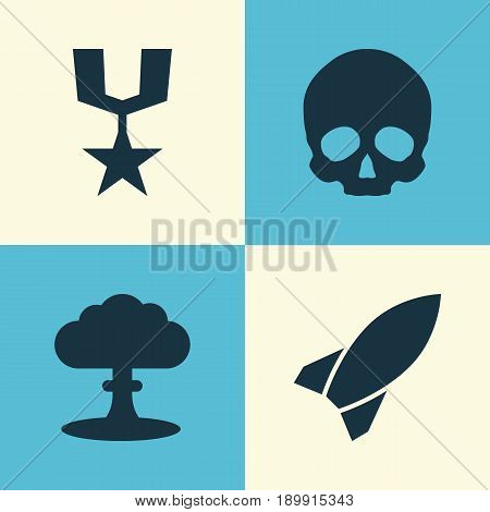 Warfare Icons Set. Collection Of Cranium, Order, Missile And Other Elements. Also Includes Symbols Such As Explosion, Medal, Nuclear.