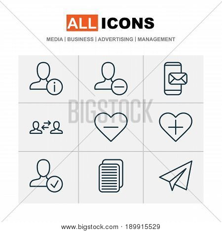 Communication Icons Set. Collection Of Internet Site, Startup, Add To Favorites And Other Elements. Also Includes Symbols Such As Paper, Follow, Interaction.