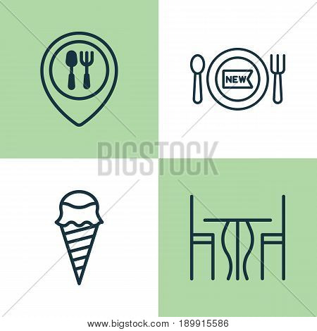 Eating Icons Set. Collection Of Dessert, Fresh Dining, Dining Room And Other Elements. Also Includes Symbols Such As Restaurant, Food, Map.