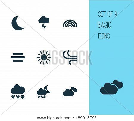 Weather Icons Set. Collection Of Lightning, Moon, Breeze And Other Elements. Also Includes Symbols Such As Rainy, Outbreak, Lightning.