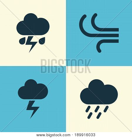 Climate Icons Set. Collection Of Douche, Breeze, Flash And Other Elements. Also Includes Symbols Such As Outbreak, Cloud, Flash.