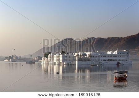 The palace Jal Mahal (Water Palace) Jaipur Rajasthan India