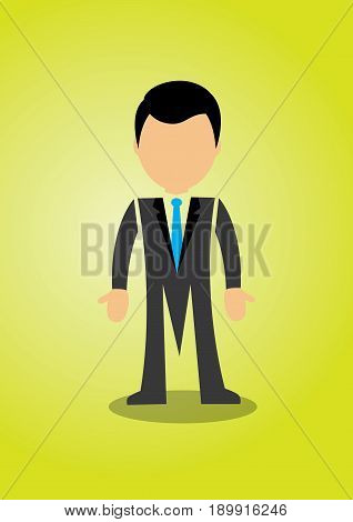 Cartoon of Successful Businessman posing confidently in green background