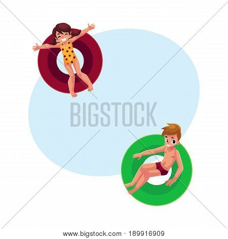 Boy and girl, kids children floating, swimming on inflatable rings, top view cartoon vector illustration with space for text. Happy boy and girl swimming on inflatable rings