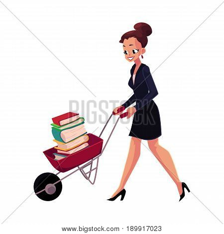 Happy woman, girl, businesswoman pushing wheelbarrow full of books, cartoon vector illustration isolated on white background. Businesswoman, woman, girl pushing barrow with books, studying concept