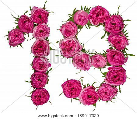 Arabic Numeral 19, Nineteen, One, From Red Flowers Of Rose, Isolated On White Background