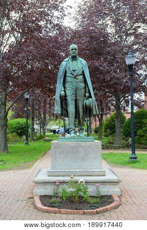 Hannibal Hamlin Stateman Diplomat Citizen of Bangor Statue in downtown Bangor, Maine, USA.