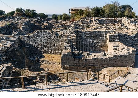 The East Wall And Gate In Ancient City Troy. Turkey