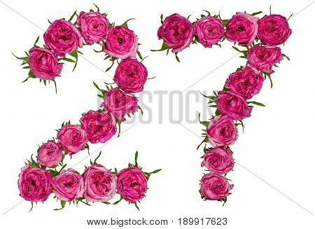 Arabic Numeral 27, Twenty Seven, From Red Flowers Of Rose, Isolated On White Background