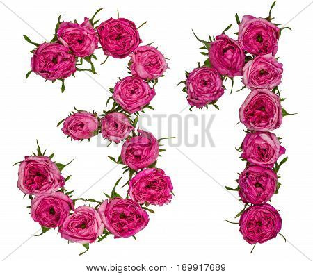 Arabic Numeral 31, Thirty One, From Red Flowers Of Rose, Isolated On White Background