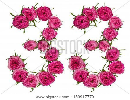 Arabic Numeral 33, Thirty Three, From Red Flowers Of Rose, Isolated On White Background