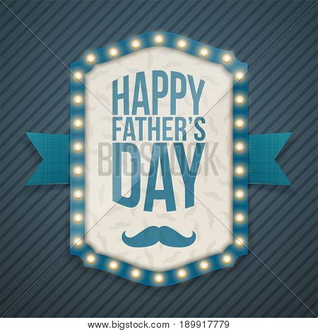 Happy Fathers Day Light Banner with Ribbon. Vector Illustration