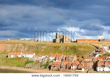 Whitby Abby on West Cliff in Whitby England. poster