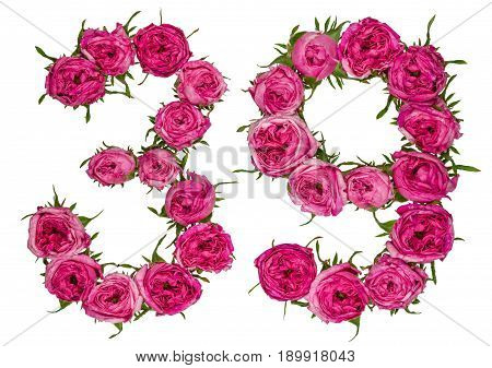 Arabic Numeral 39, Thirty Nine, From Red Flowers Of Rose, Isolated On White Background