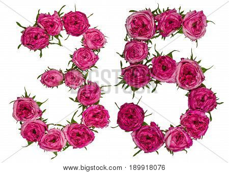 Arabic Numeral 35, Thirty Five, From Red Flowers Of Rose, Isolated On White Background