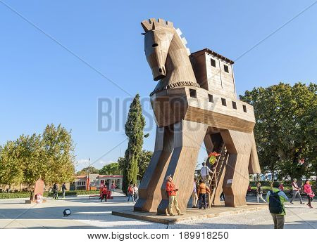 Replica Of Wooden Trojan Horse In Ancient City Troy. Turkey