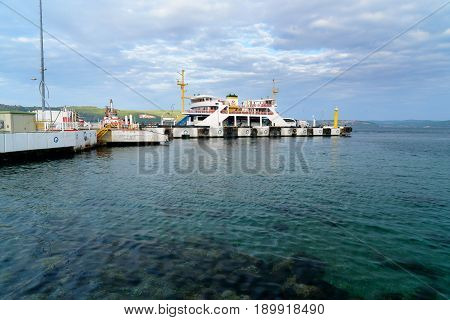 Canakkale Ferry Pier In The Morning. Turkey