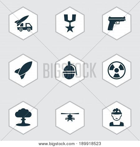 Army Icons Set. Collection Of Dangerous, Missile, Ordnance And Other Elements. Also Includes Symbols Such As Soldier, Oficer, Bomb.