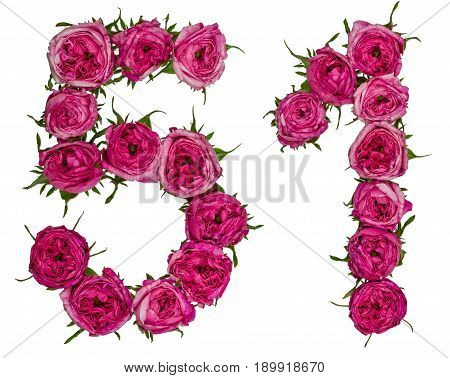 Arabic Numeral 51, Fifty One, From Red Flowers Of Rose, Isolated On White Background