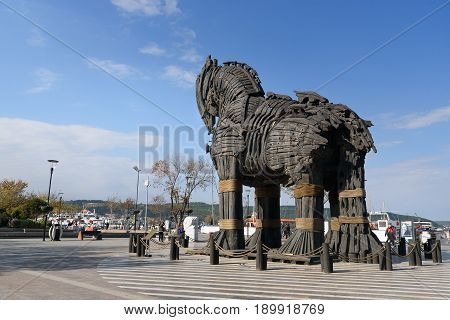 Wooden Trojan Horse In Canakkale, Turkey