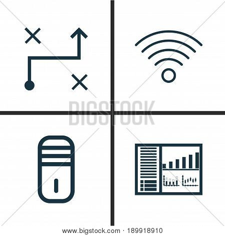 Machine Icons Set. Collection Of Controlling Board, Wireless Communications, Mainframe And Other Elements. Also Includes Symbols Such As Panel, Wifi, Board.