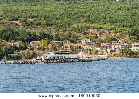 Ferry Pier And Boat In Gallipoli Peninsula. Turkey