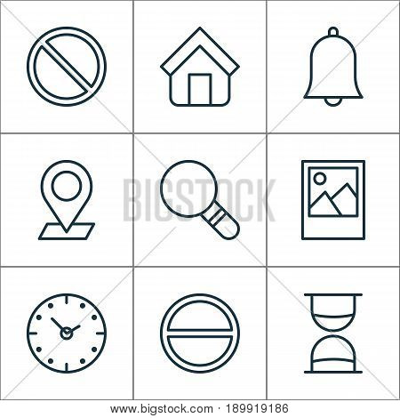 Network Icons Set. Collection Of Image, Research, Obstacle And Other Elements. Also Includes Symbols Such As Time, Shelter, Hourglass.