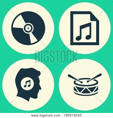 Audio Icons Set. Collection Of Cd, Meloman, File And Other Elements. Also Includes Symbols Such As Lover, Meloman, Turntable.
