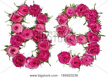 Arabic Numeral 89, Eighty Nine, From Red Flowers Of Rose, Isolated On White Background