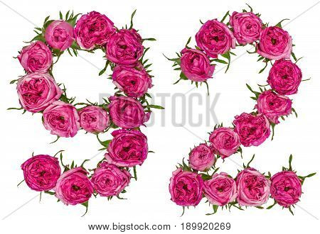 Arabic Numeral 92, Ninety Two, From Red Flowers Of Rose, Isolated On White Background