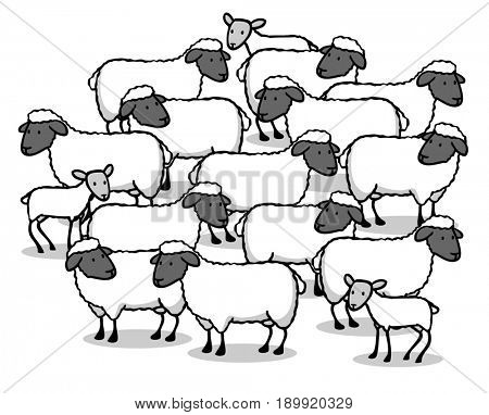 Many sheep and lambs together as flock of sheep as cartoon animals