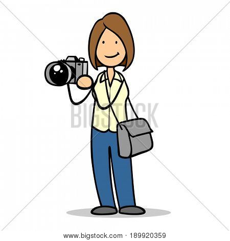 Cartoon woman with camera as photographer in her hands