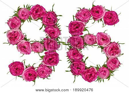 Arabic Numeral 96, Ninety Six, From Red Flowers Of Rose, Isolated On White Background