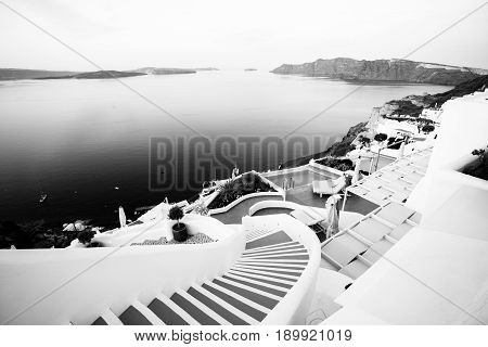 Houses of Santorini in black and white