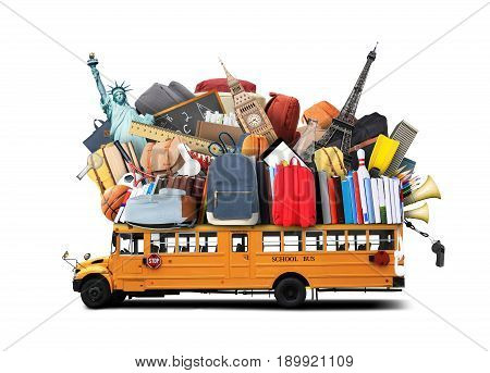 Yellow school bus with books and backpacks