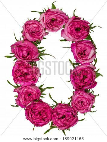 Arabic Numeral 0, Zero, From Red Flowers Of Rose, Isolated On White Background