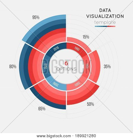 Vector circle chart infographic template for data visualization with 6 parts. Easy to edit and to build your own chart.