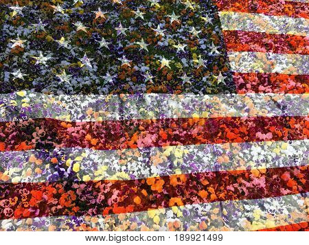 American flag and many flowers, patriotic background