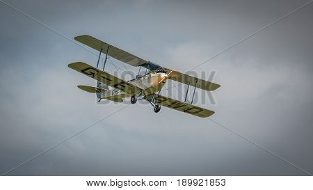Biggleswade UK - 7th May 2017: Vintage De Haviland DH60X Moth biplane in flight