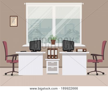 Workplace for two office workers in a cocoa color. There are white tables, purple chairs, computers and other objects on a window background in the picture. Vector flat illustration