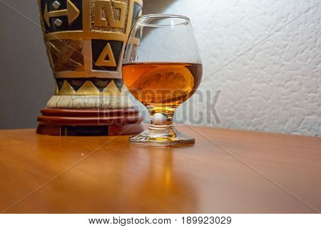 Cognac With Lemon In A Glass