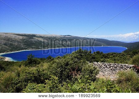 view on the lake Vrana on the island Cres in Croatia