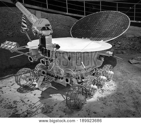 MOSCOW, JAN 10, 2017: Moscow cosmonaut space museum. Soviet USSR Moon lunar rover robot car surface module vehicle Lunokhod -1. Moscow holidays vacations tours. Tourits famous sightseeing places