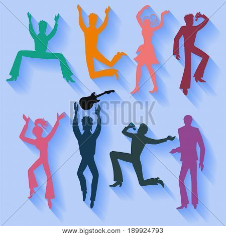 Full length front view flat lay long shadow colored grope of artists (dancers singers musicians). Vector illustration.