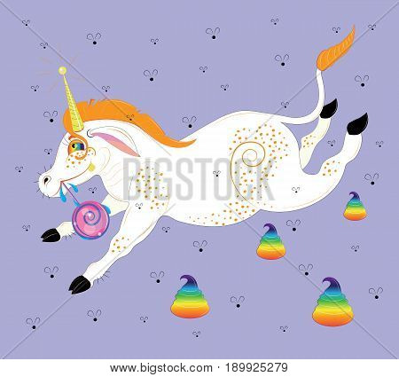 The unicorn with freckles, eats lollipop. vector