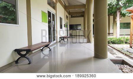 6 June 2017 Pathum Thani Tahiland: Empty walkway at public library,Perspective of empty corridor walkway,Retro design in Pathum Thani.