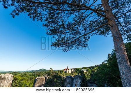 Hruba Skala Chateau in the Bohemian Paradise on the evening picture