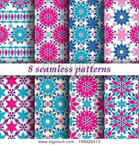 Set of eight seamless patterns with symbols of male and female gender. Swatches included